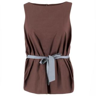 Marni Brown Belted Sleeveless Top