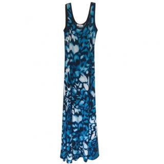 Calvin Klein Blue Ink Pattern Flared Dress