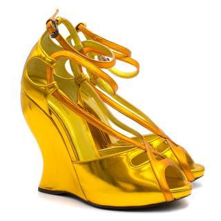 Bottega Veneta Gold Metallic Strappy Wedges