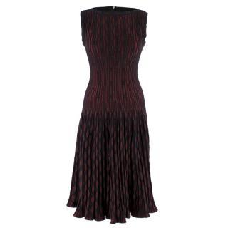 Alaia Black & Cherry Knit Midi Dress