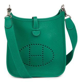 Hermes Vert Vertigo Clemence Leather Evelyne III TPM