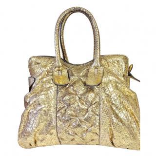 Zagliani gold python top handle bag