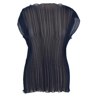 BACK Navy Pleated Top