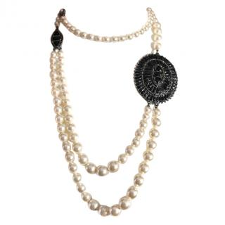 Chanel Pearl Brooch Embellished Necklace