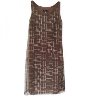 Anna Sui Coffee Gauze embroidered Sleeveless Shift Dress