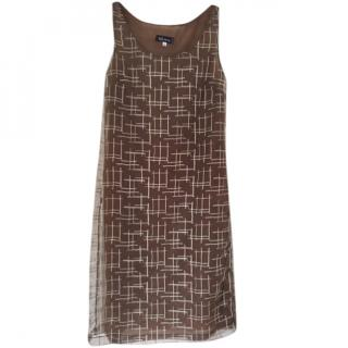 Anna Sui Coffee Gauze embroidered Coffee coloured Sleeveless Shift Dress
