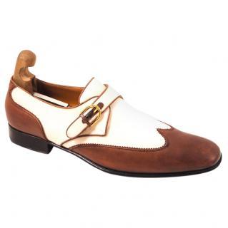 Gucci men's brown & ivory monk shoes