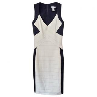 Joseph Ribkoff Black & Ivory cross panlel Bodycon Dress