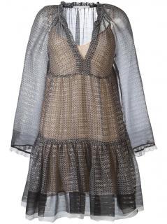 Stella Mccartney Circle Star Print Silk Tiered Dress