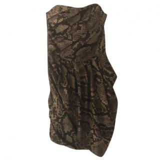 Michael Kors Snake Print Brown Strapless Dress