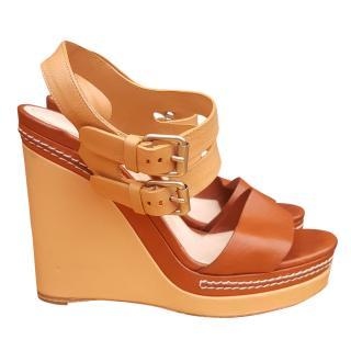 Chloe wedge leather platform sandals