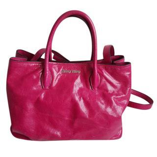 Miu Miu Red Calf Glazed Leather Bag