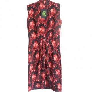 Shanghai Tang red floral cheongsam dress
