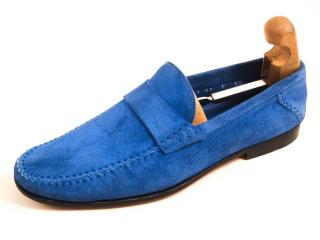 Santoni fatte a mano blue suede loafers