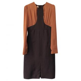 Marni two-tone dark brown & caramel long sleeve wool/silk dress