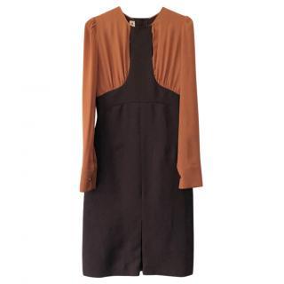 Marni two-tone dark brown & caramel long sleeve wool/silk dress