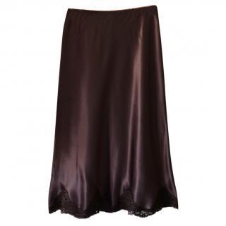 Gerard Darel Brown Lace Trim Skirt
