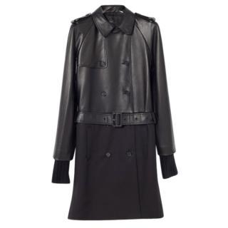 Joseph black leather toro trench coat