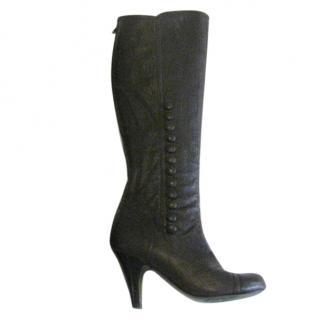 Lanvin dark chocolate brown boots