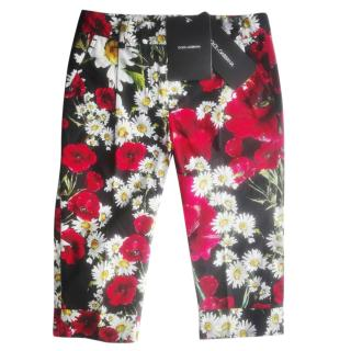 Dolce & Gabbana girls poppy daisy print capri pants
