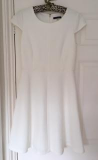 Tommy Hilfiger Ivory Cap Sleeve Textured Knit Fit & Flare Dress