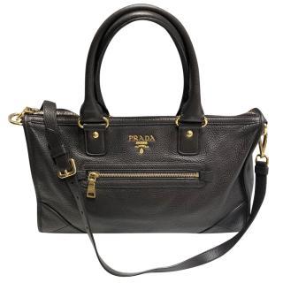 Prada dark brown soft leather top handle bag