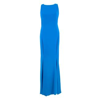 Roberto Cavalli Blue Lace-up Gown