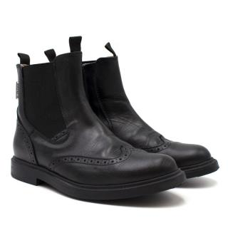 Step2wo Girls Black Leather Chelsea Boots