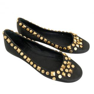 Tory Burch Black & Gold Studded Pumps