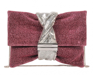 Jimmy Choo Purple Glitter Chandra M clutch