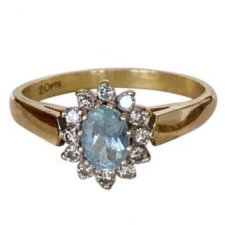 Bespoke 18ct Gold Aquamarine & Diamond Cluster Ring