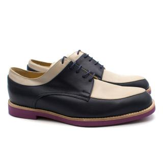 T&F Slack Shoemakers London Handmade Navy and Cream Brogues