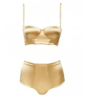 La Perla Lotus Collection Gold Silk Flair Lingerie Set