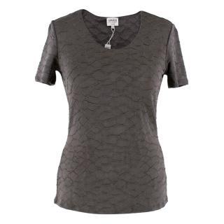 Armani Collezioni Gray Textured T-Shirt