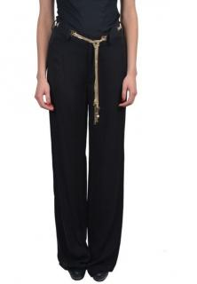 Dsquared black silk gold chain pants