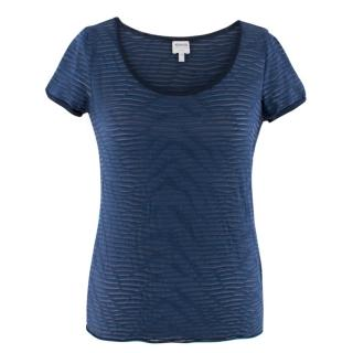 Armani Collezioni Navy Striped Sheer Top