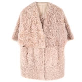 Drome Short Sleeve Lamsbkin & Shearling Cape Coat