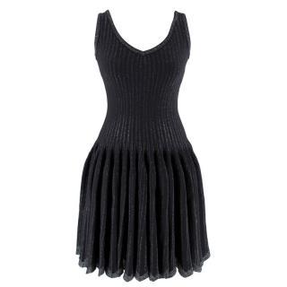 Alaia Black Metallic Striped Knit Pleated Dress