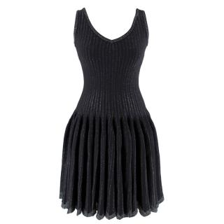 Alaia Black Metallic Striped Knit Pleated Dress