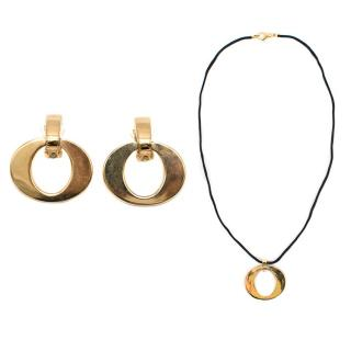 Dior Gold Toned Necklace and Earrings Set