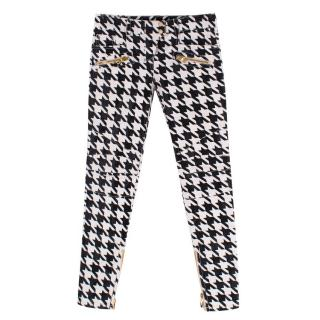Balmain Houndstooth Coated Jeans
