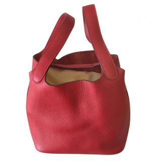 Hermes Red Picotin Tote Bag