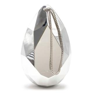 Lulu Guinness Tear Drop Oval Perspex Silver Clutch