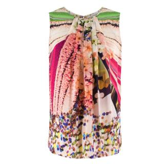 Mary Katrantzou Silk Floral High Neck Sleeveless Top