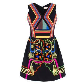 Peter Pilotto Embellished Black Denim Hendrix Mini Dress