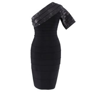 Herve Leger One Shoulder Bandage Mini Dress