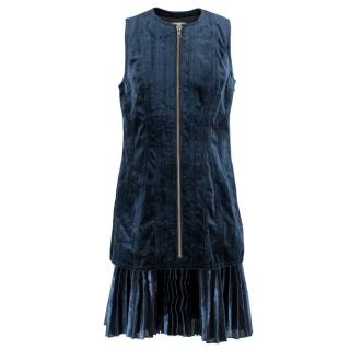 )Phillip Lim Pleated metallic chiffon-paneled velvet dress