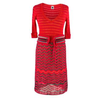 M Missoni Red Knit Sheer Dress