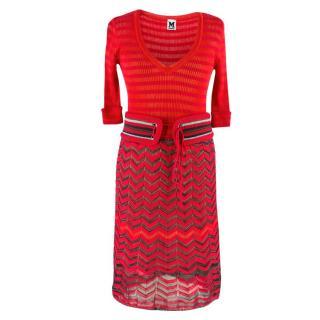 M Missoni Red Knit Sheer Dress
