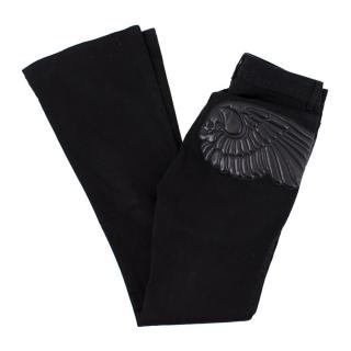 Alexander McQueen Leather Wing Embellished Bootcut Jeans